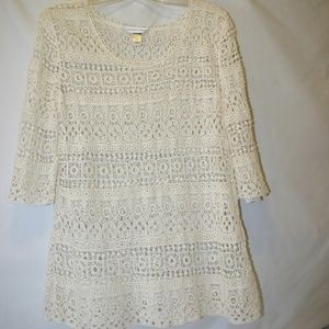 Christoper and Banks Ivory Cotton Crochet Sweater